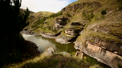 River Apurimac in Peru (South America) with the grass bridge Q'Eswachaka Stock Footage