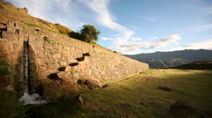 Tipón (Inca ruins) with a water channel (Cusco, Peru, South America) - stock footage