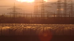 Greenhouses in an industrial landscape Stock Footage