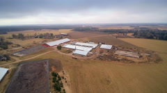 Aerial view of the big farm in the countryside Stock Footage