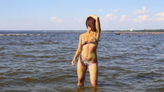 The woman dancing in water Stock Footage