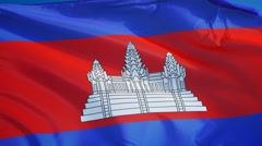 Cambodia  flag in slow motion seamlessly looped with alpha  Stock Footage