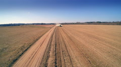 A big liming truck on the big field Stock Footage