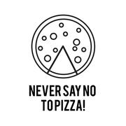 Never Say No to Pizza vector line art illustration Stock Illustration