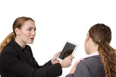 Exasperated with technology - stock photo