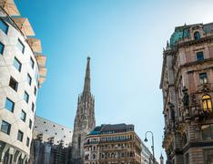 Beautiful street view of old town Vienna, Austria. - stock photo