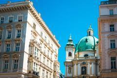 Beautiful street view of old town Vienna, Austria. Stock Photos