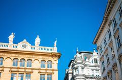 Beautiful street view of old town Vienna, Austria. - stock photo