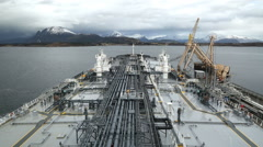 Oil tanker moored to the oil terminal Stock Footage