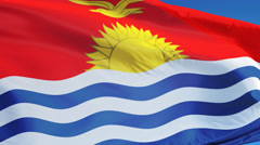Kiribati flag in slow motion seamlessly looped with alpha Stock Footage