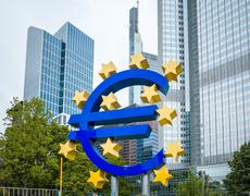 Frankfurt, Germany - July 11 : Euro Sign. European Central Bank (ECB) is the  - stock photo