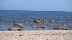 Beach with rocks in Crete Stock Footage