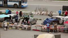 City spring food fair - stock footage