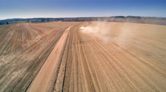 Aerial view of the big agricultural field Stock Footage