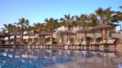 Resort hotel empty swimming pool Stock Footage