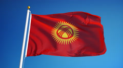 Kyrgyzstan flag in slow motion seamlessly looped with alpha - stock footage