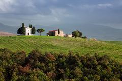 The chapel Vitaleta in Val d'Orcia, Tuscany Stock Photos
