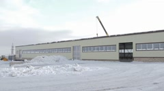 Panorama of manufacturing facility Stock Footage