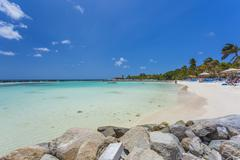 Flamingo beach at Aruba island - stock photo