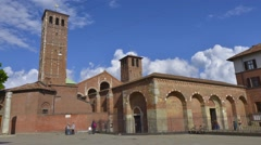 Sant'Ambrogio Basilica, a medieval church in Milan, Italy. Stock Footage