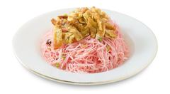 Thai Cuisine and Food, Plate of Red Stir Fried Rice Vermicelli Served with Ju Stock Photos