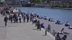 People walk on the Darsena Stock Footage