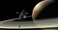 Pioneer making a close pass of Saturn.  - stock footage