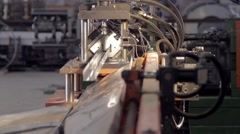 Metal cutting machine close-up back view Stock Footage