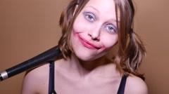 Teen girl with baseball bat. Young antisocial hooligan with dirty makeup. 4K UHD Stock Footage