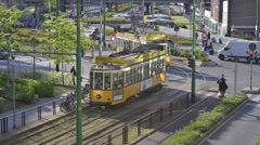 Traffic of people, cars and trams in Porta Nuova Varesine district. Time lapse. Stock Footage