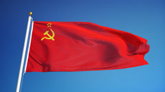 USSR flag in slow motion seamlessly looped with alpha Stock Footage