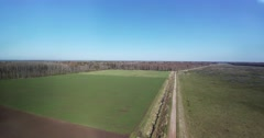 Aerial view of latvian countryside in early spring. Stock Footage