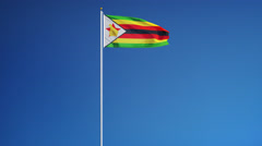 Zimbabwe flag in slow motion seamlessly looped with alpha Stock Footage