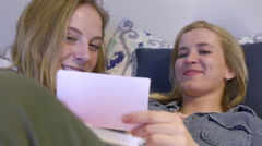Students Go Over Flash Cards Together, They Laugh And Have Fun Studying Stock Footage