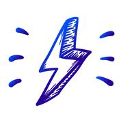 Thunder, danger vector hand drawn illustration. Icon on transparent backgroun Piirros