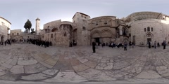 Church of the Holy Sepulcher: A procession on Palm Sunday afternoon Stock Footage