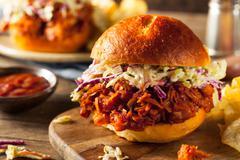 Homemade Vegan Pulled Jackfruit BBQ Sandwich - stock photo
