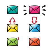Mail icon, symbol, illustration black lines on white.. - stock illustration