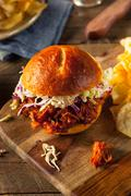 Homemade Vegan Pulled Jackfruit BBQ Sandwich - stock photo
