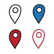 Geotag set doodle graphics vector icon hand drawn illustration black lines.. Stock Illustration