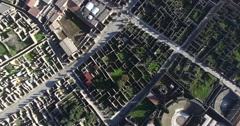 AERIAL SEQUENCE TILT SHOT POMPEII CITY RUINS AND UNRESTORED AREA Stock Footage