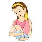 Mother feeding her baby with breast - stock illustration