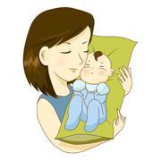 Mother holding her little baby with love Stock Illustration