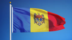 Moldova flag in slow motion seamlessly looped with alpha Stock Footage