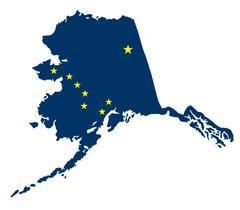 Flag and Map of Alaska Piirros