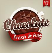 Hot and fresh chocolate Stock Illustration