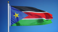 South Sudan flag in slow motion seamlessly looped with alpha Stock Footage