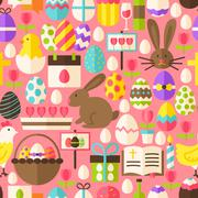 Happy Easter Vector Flat Design Pink Seamless Pattern - stock illustration
