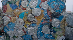 Tin Cans in Compressed Blocks Prepared for Recycle - stock footage