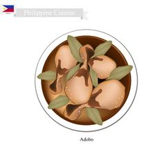 Adobo or Philippines Meat Stir with Vinegar and Garlic - stock illustration